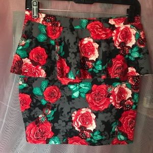Candies Floral Skirt with Waist Ruffle